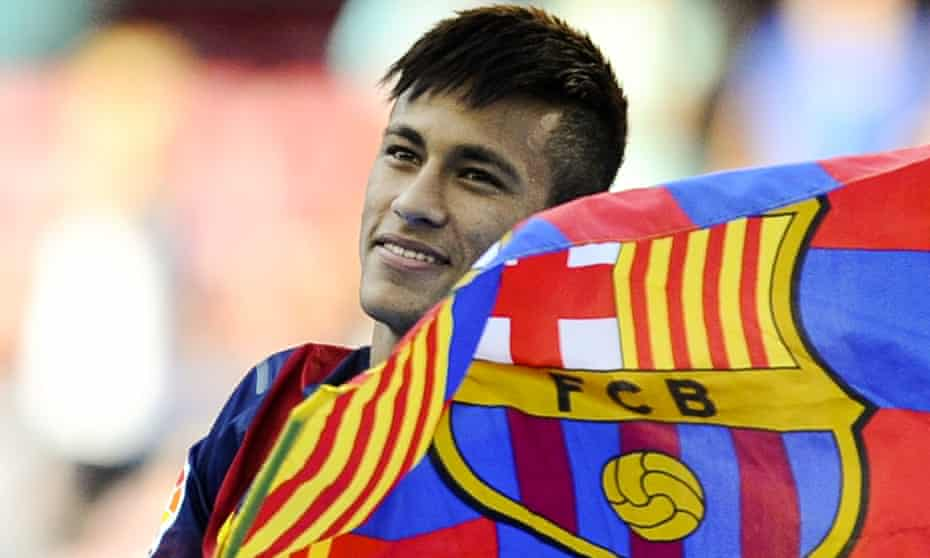 Neymar is presented as a Barcelona player in June 2013 – the legal fallout from the deal continues to this day.