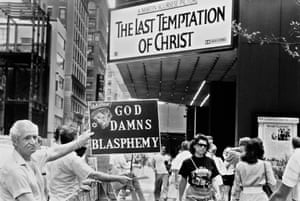 Christians protest outside the Ziegfeld Theater in Manhattan, at the portrayal of Christ in Martin Scorsese's The Last Temptation of Christ.