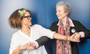 Bernardine Evaristo and Margaret Atwood lock arms