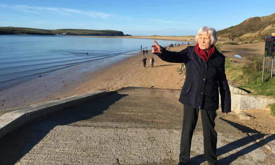 Dr Christine Brown's mother Elfie, before the pandemic and her stroke, by the sea in Cornwall.