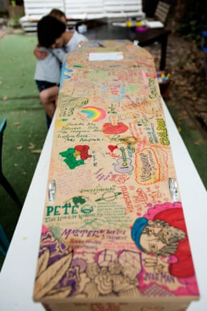 Pete Thorpe's extended family decorated his coffin in his Bondi back garden