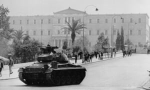 A tank outside the parliament building in Athens during the military coup in 1967.