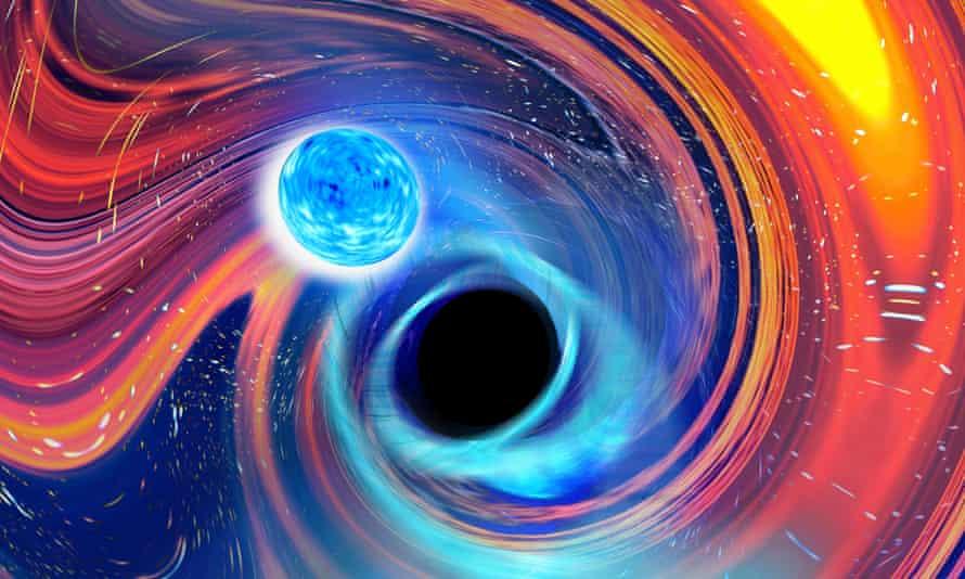 Rainbow Swirl gambar artistik yang terinspirasi oleh peristiwa penggabungan bintang neutron lubang hitam
