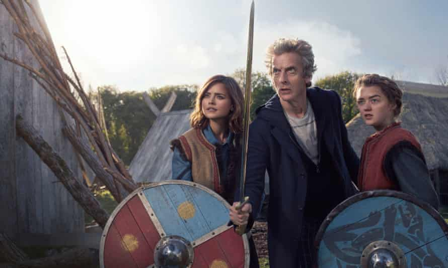 From left: Jenna Coleman, Peter Capaldi and Maisie Williams in the TV series Doctor Who.