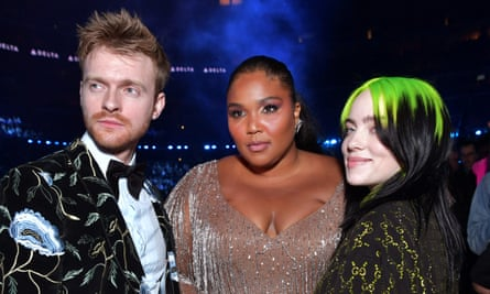 One World: Together at Home performers (from left) Finneas, Lizzo and Billie Eilish at this year's Grammy awards.