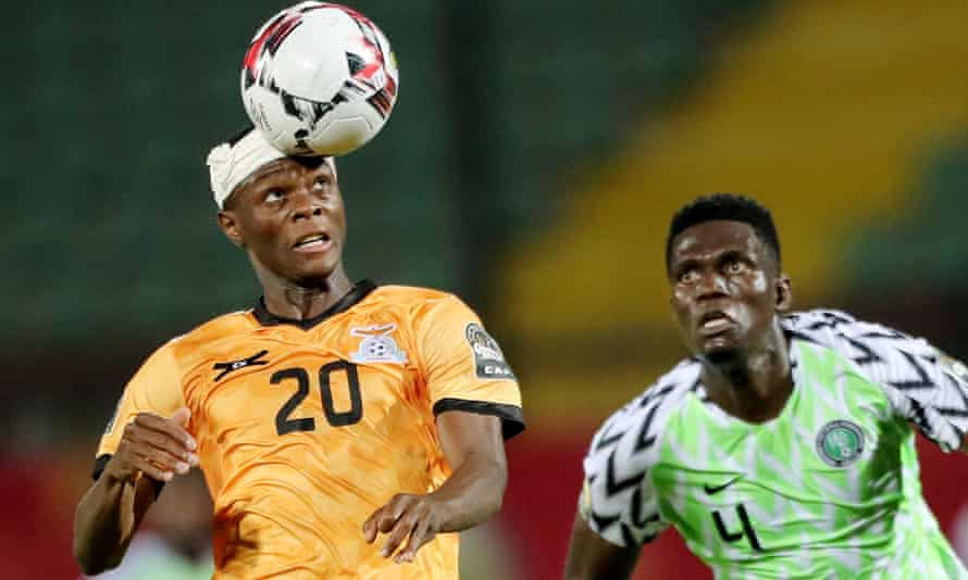 Zambia's Patson Daka (left) gets in ahead of Valentine Ozornwafor of Nigeria in the Africa Under-23 Cup of Nations last November.