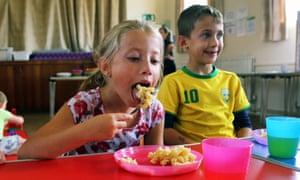 Children enjoy hot food at St Teilo's church in Swansea.