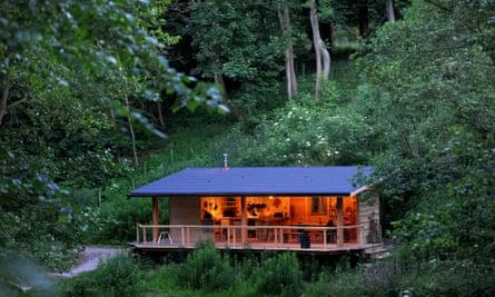The woodland kitchen at Redwood Valley Woodland Cabin and Yurts, Presteigne.