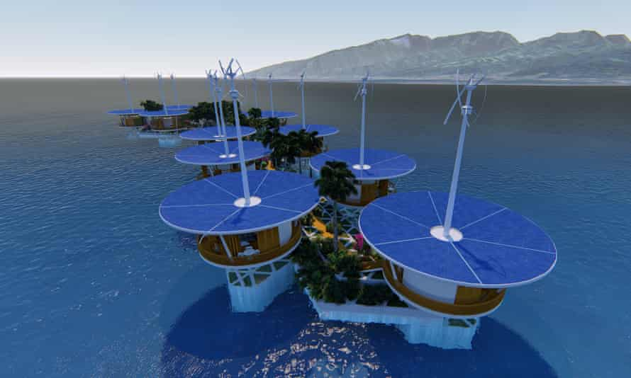 An artist's impression of a floating island, by company Blue Frontiers.
