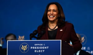 Kamala Harris speaking moments ago in Delaware at an event with Joe Biden to introduce some of his choices for their incoming cabinet.