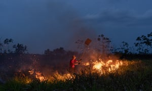 Firefighters from Amazonas state fight to put out a fire on the rural outskirts of Humaitá.