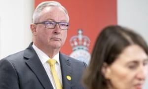 The NSW health minister, Brad Hazzard, with the premier, Gladys Berejiklian on Wednesday. l