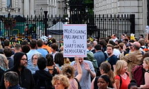 Demonstrators protest against the proroguing of parliament outside Downing Street on Wednesday.
