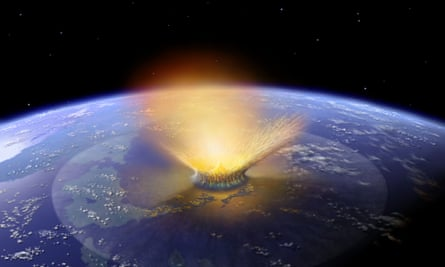 Computer generated simulation of asteroid hitting Earth in present-day Mexico 66m years ago.
