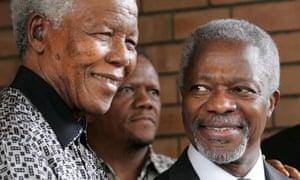 Kofi Annan with the late nelson Mandela, in 2006.