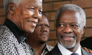 Kofi Annan with the former South African president Nelson Mandela at a meeting in Johannesburg, 2006. The following year, Annan joined the Elders, the organisation of former statesmen founded by Mandela.