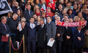 Andy Burnham joins Kenny Dalglish and Hillsborough survivors and families in a rendition of You'll Never Walk Alone at a candlelit vigil for those who died in the disaster, April 2016.