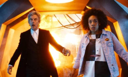 Peter Capaldi as Doctor Who with Pearl Mackie as Bill Potts