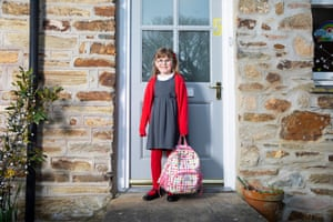 Florence Cooper, aged 6, a pupil at St Agnes ACE Academy in St Agnes, Cornwall.