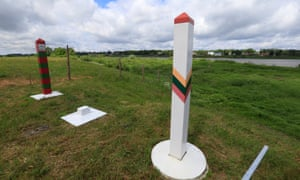Lithuanian and Russian border signs are seen near Sudargas border crossing point with Russia in Ramoniškiai.