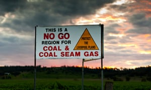 A sign protesting coal in the Liverpool Plains in north-west NSW. Approximately 190 Gomeroi people have asked for the government to protect the Indigenous sacred sites they say could be risked by pre-construction work at Shenhua's Watermark coalmine.