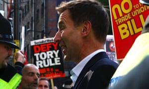 Jeremy Hunt arriving at the Conservative conference on Sunday.