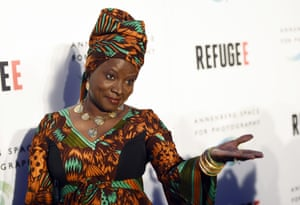 UNICEF Goodwill Ambassador Angélique Kidjo at the opening of the new photography exhibit REFUGEE, in Los Angeles
