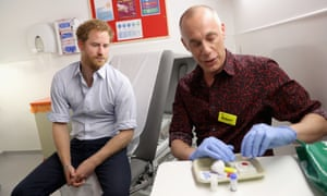 Prince Harry waits for the results of an HIV test taken by Robert Palmer at Guy's and St Thomas's in London last week.
