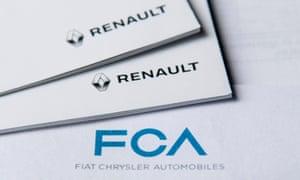 Logos of Fiat Chrysler and Renault