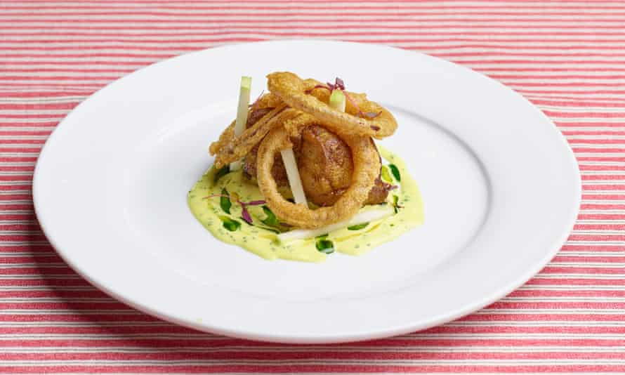 'Spiced and roasted, served with golden onion rings': monkfish.