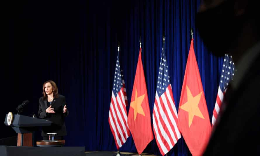 Kamala Harris holds a press conference before departing Vietnam for the United States, following her first official visit to Asia, in Hanoi