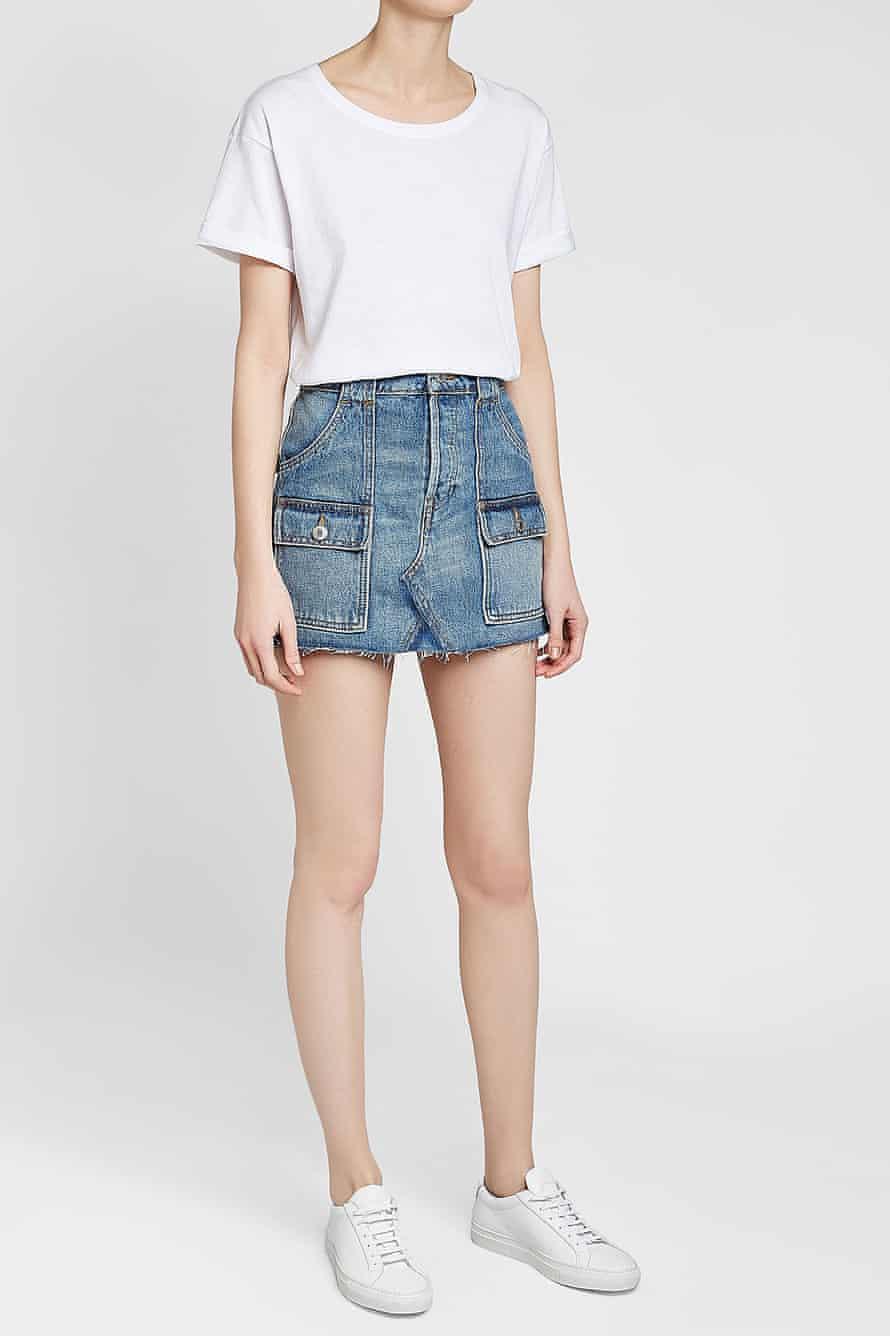 Cargo denim mini skirt.