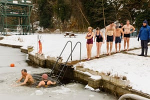 Taking an icy dip in Henleaze Lake in Bristol.