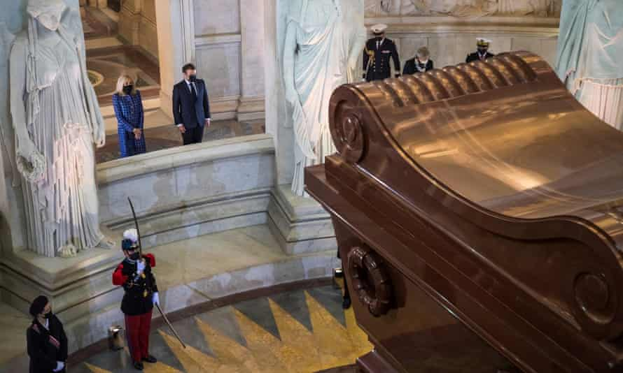'An act of commemoration, not of celebration': President Macron and his wife, Brigitte, at Napoleon's tomb in Paris