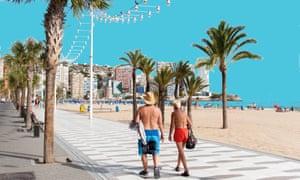 Man and woman in beach attire strolling along the promenade in Benidorm, Spain
