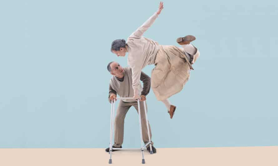 An 'elderly' man crouching on a zimmer frame with an 'elderly' woman leaning on it to leap up and over him