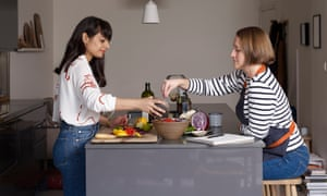 Meera Sodha with her recipe tester, Hannah Cameron McKenna, in Meera's home in London