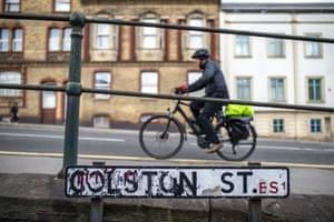 Colston Street in Bristol, named after slave trader Edward Colston.