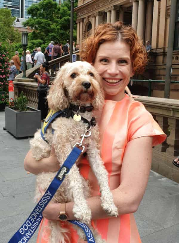 Australian writer Fiona Wright with her assistance dog Virginia