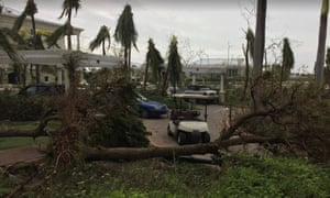 Damage to a golf course in Providenciales, Turks and Caicos Islands, caused by Hurricane Irma.