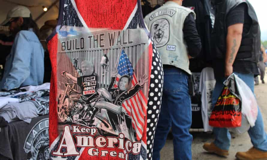 On pro-Trump T-shirts sold at bike week, the president is often portrayed as a biker and slogans are often divisive.