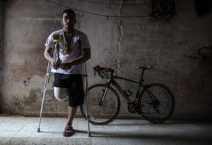 Alaa al-Daly, a Palestinian cyclist, in Rafah, Gaza