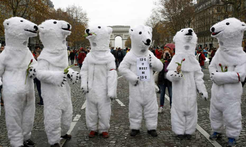Environmentalists protest during last month's  COP21 climate change talks in Paris
