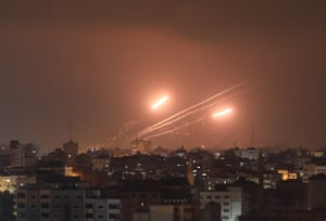 Gaza City, Gaza. Rockets are fired from the Gaza Strip after the deadline for Israel to withdraw its security forces from the al-Aqsa mosque compound passed