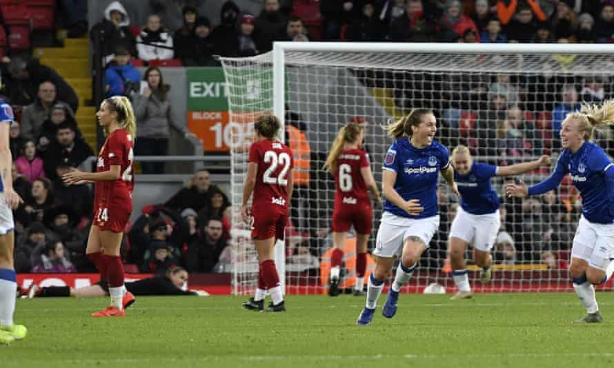 Liverpool played Everton at Anfield in November. Lucy Graham (third from right) celebrates the visitors' winning goal