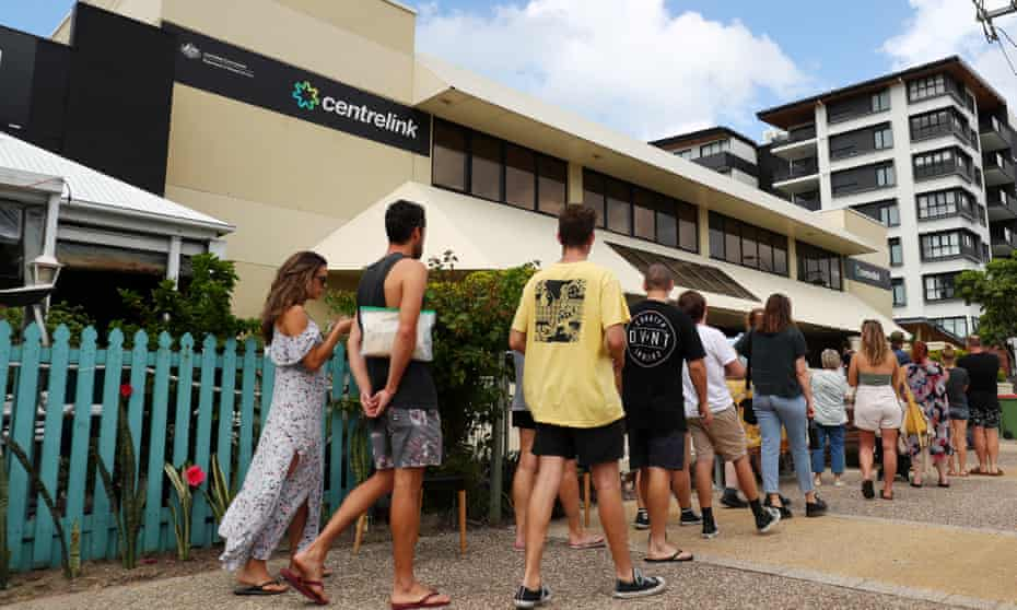 People queue outside a Centrelink in Gold Coast