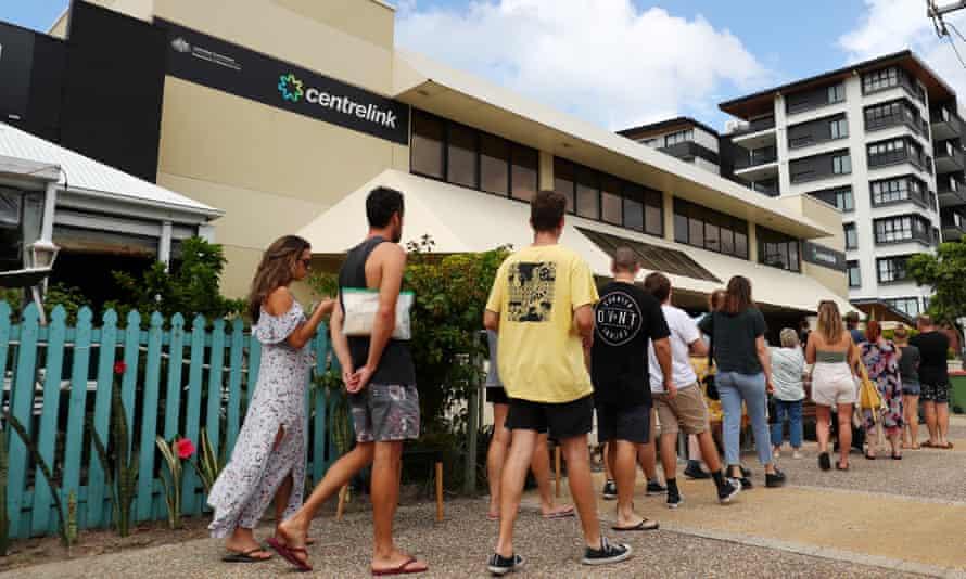 A queue outside a Gold Coast Centrelink a year ago