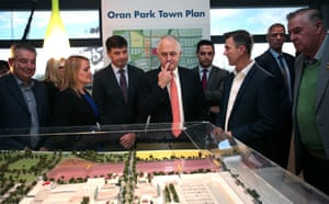 Prime Minister Malcolm Turnbull looks at a model of the development at Oran Park Town on June 20, 2016 in Sydney, Australia.