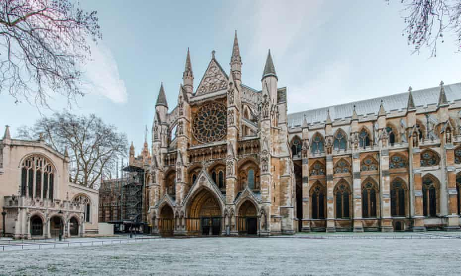 Westminster Abbey in London with snow