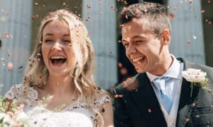 Teachers Milly and Toby Savill pictured on their wedding day.